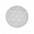 Seleniet platte schijf 8cm, gegraveerd, fleur of life