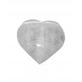 Seleniet hart 7cm, gegraveerd, fleur of life